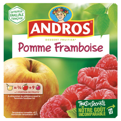 Andros Compote Pomme framboise 4x100g.