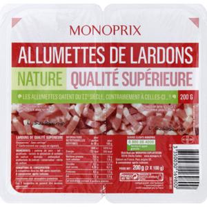 Monoprix Allumettes de lardons nature qualité supérieure 2x100g