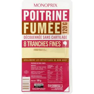 Monoprix Poitrine fumée  sans couenne 120g
