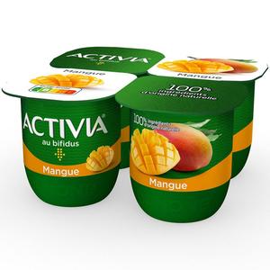 Activia yaourt bifidus à la mangue le pack de 4x125g