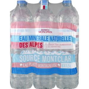 Monoprix eau minérale des alpes le pack de 6x1,5L