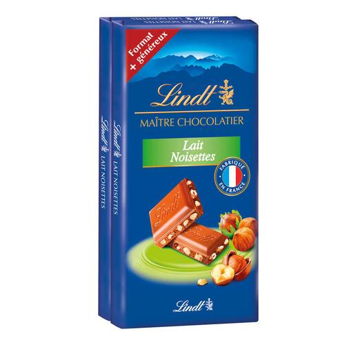 Lindt Maître Chocolatier Tablette Lait Noisettes x2 110g