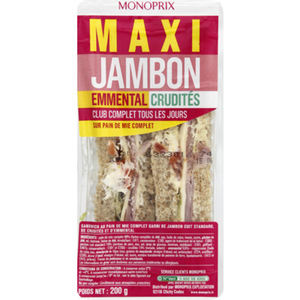 Monoprix Maxi Jambon emmental crudités 200g.