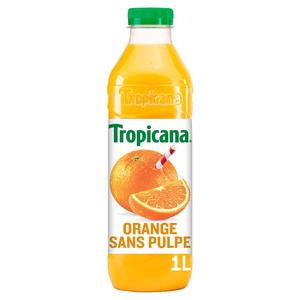 TROPICANA Pur Jus d'Orange sans Pulpe la Bouteille de 1L