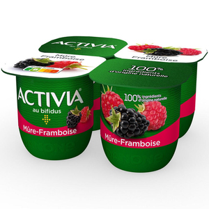 Activia Yaourt aux fruits mûre-framboise bifidus 4x125g