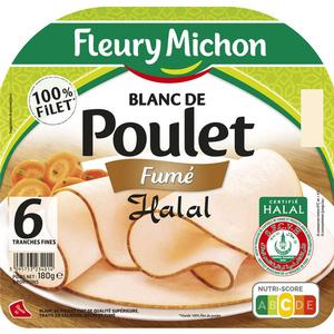 Fleury Michon Blanc De Poulet Fumé Halal Tranches Fines X6