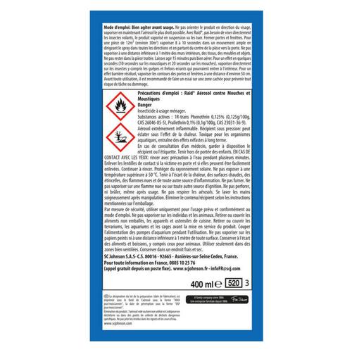 Raid Insecticide Mouches et Moustiques 400ml