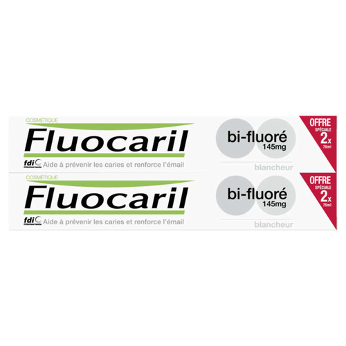 [Para] Fluocaril Dentifrice Blancheur Bi-Fluoré 145mg Lot 2x75ml