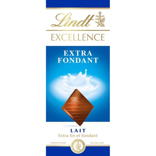 Lindt Excellence Tablette chocolat Lait Extra-Fondant 100 g.