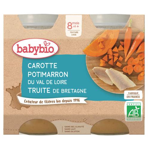 Babybio pots de carotte, potimarron et truite 8 mois et + 400g