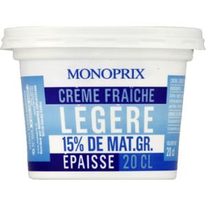 Monoprix Crème Fraîche Légère 15% de Matières Grasses 20cl.