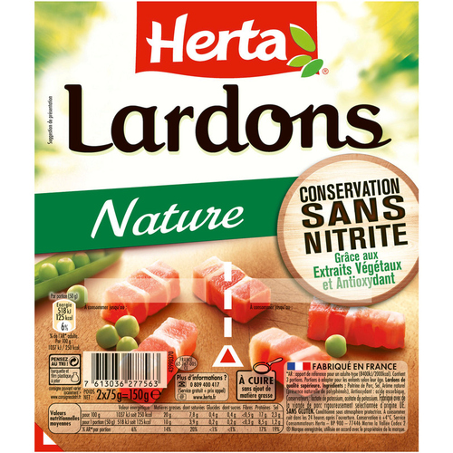 Herta lardons natures conservation sans nitrite 2X75g