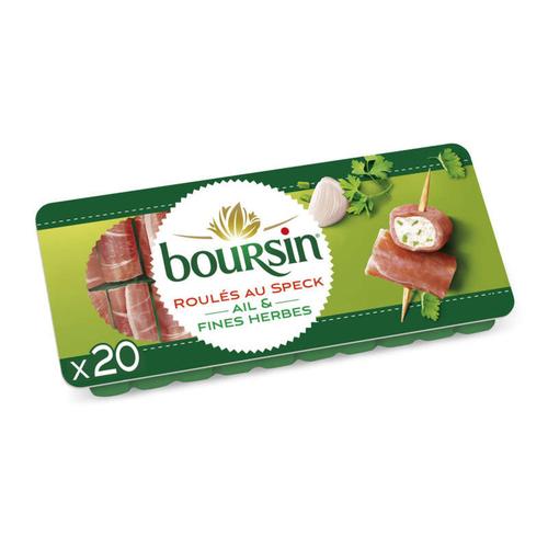 Boursin fromage apéritif roulés jambon fumé ail et fines herbes 20 roulés 100g