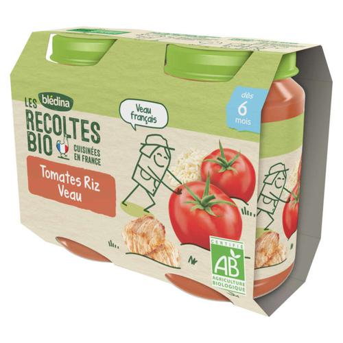 Blédina Petits Pots Bio Tomates Riz Veau Dès 8 Mois 2x200g