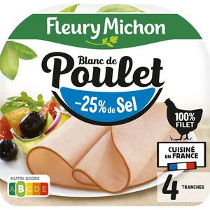 Fleury Michon Blanc De Poulet -25% De Sel X4