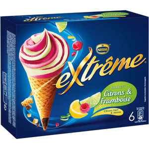 Nestlé Extrême Cônes Sorbets Citron Framboise 426g