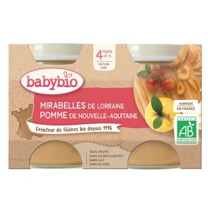 Babybio purée de mirabelle & pomme bio 4M le pack de 2x130g.