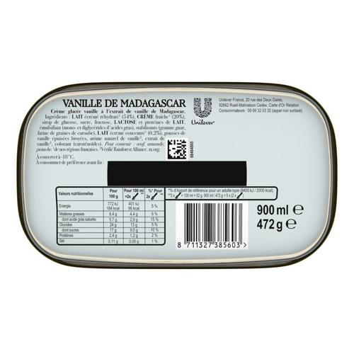 Carte D'or Glace Vanille de Madagascar 900ml