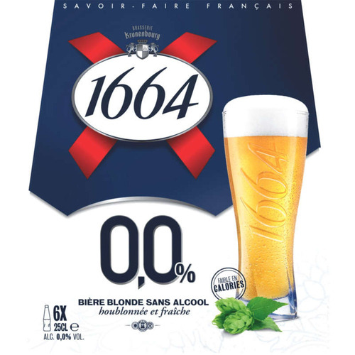 1664 0.0 Bière Blonde Sans Alcool 6 x 25 cl