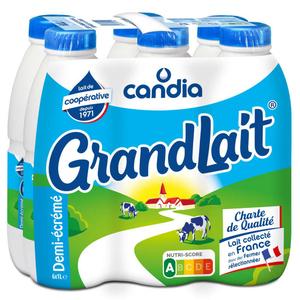 Grandlait lait demi-écrémé stérilisé le pack de 6x1L