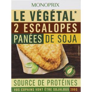 Monoprix Escalopes panées de soja 200g.
