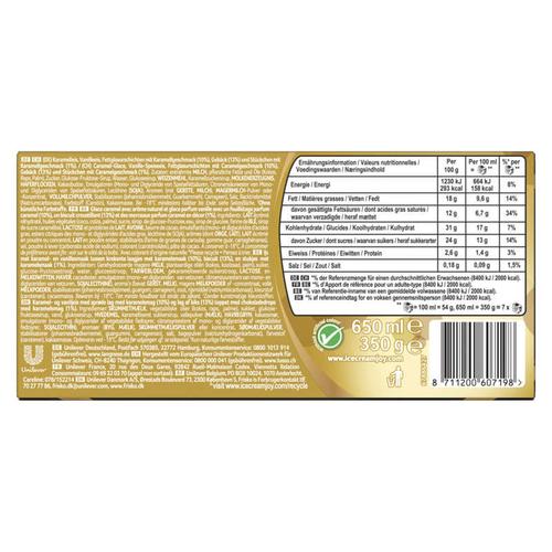 Viennetta Dessert Glacé Biscuit Caramel 7 Parts la boîte 650ml