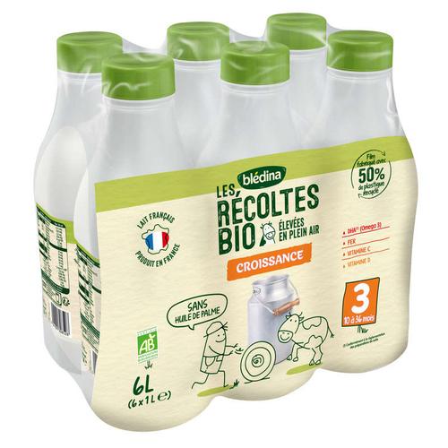 Blédina lait de croissance Bio le pack de 6x1L