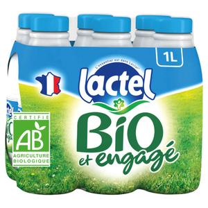 Lactel BIO demi-écrémé bouteille 6x1L