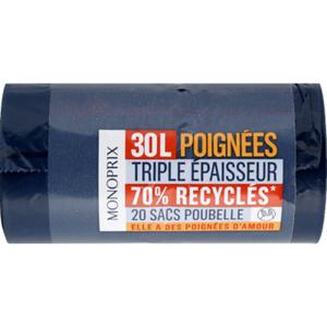 Monoprix Sacs poubelle à poignées 70% recyclés 30L