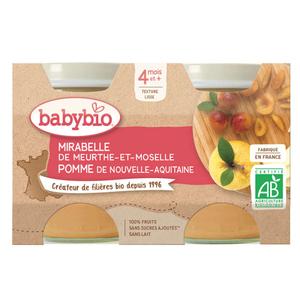 Babybio purée de mirabelle & pomme Bio 4M le pack de 2x130g