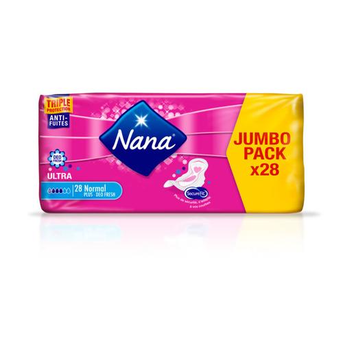 Nana Serviettes Hygiéniques Ultra Normal Déo Fresh Jumbo Pack x28