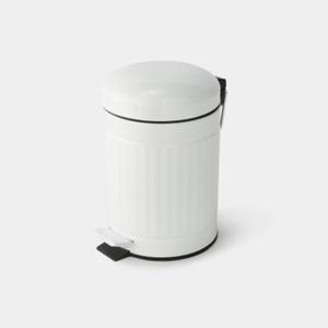 Monoprix Maison Poubelle Ronde, À Pédale, 3L, Blanc Mat.
