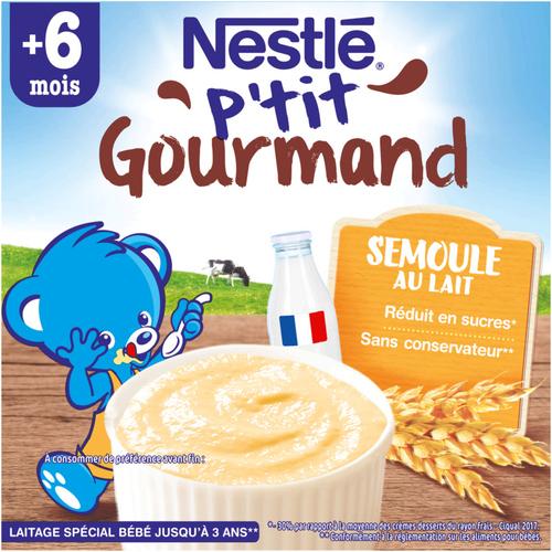 Nestlé P'Tit Gourmand Semoule au Lait dès 6 Mois 4x100g