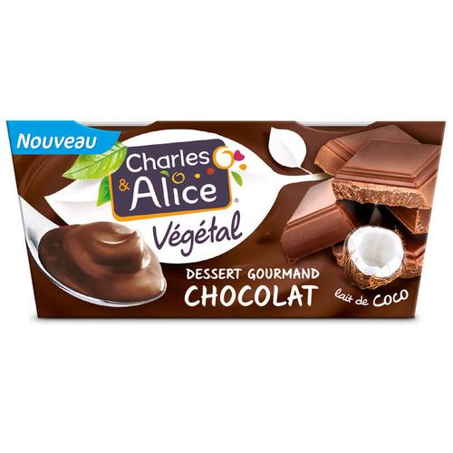 Charles et Alice Dessert Gourmand au Chocolat et au lait de coco 2x110g