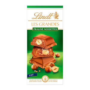 Lindt Les Grandes Tablette Chocolat Lait Praliné Noisettes 225 g.