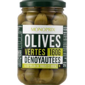 Monoprix Olives vertes dénoyautées 160g