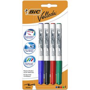 Bic Velleda Marqueurs pour Tableau Blanc Mix de 4 Couleurs x4.