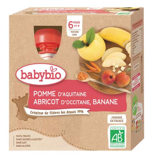 Babybio Compote Pomme Abricot Banane Dès 6 Mois 4x90g