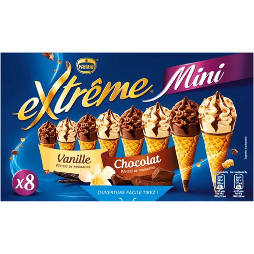 Extrême Mini Cônes de Glace Vanille Chocolat Boite x8 312g