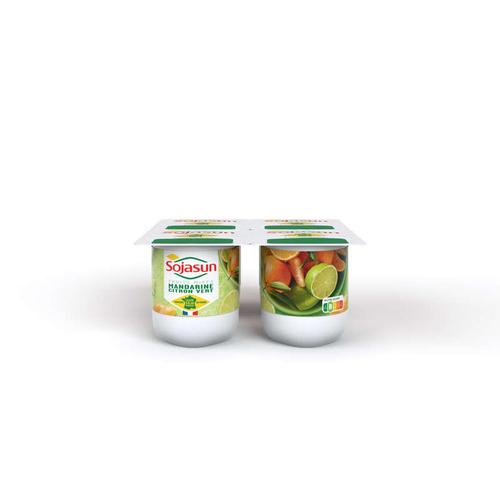 Sojasun Soja Mandarine Citron Vert Pots 4x100g