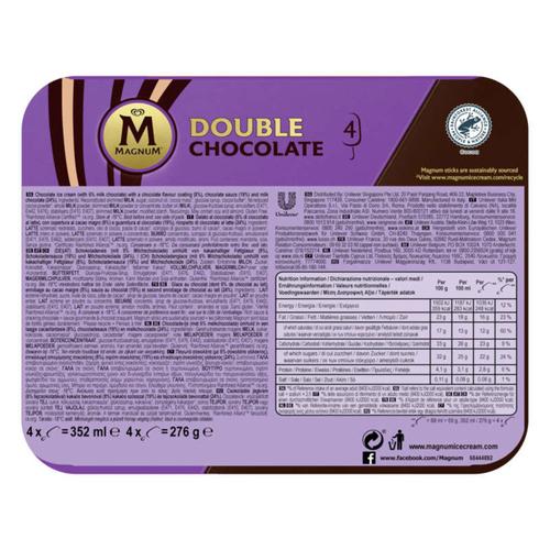 Magnum Glace Bâtonnet Double Chocolat x4 352ml