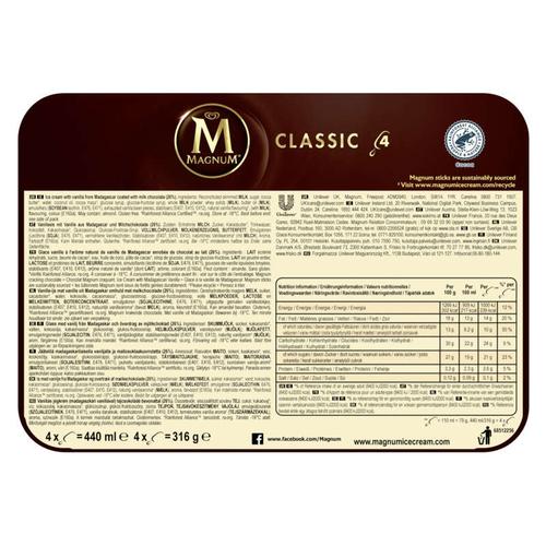 Magnum Glace Bâtonnet Classic x4 440ml