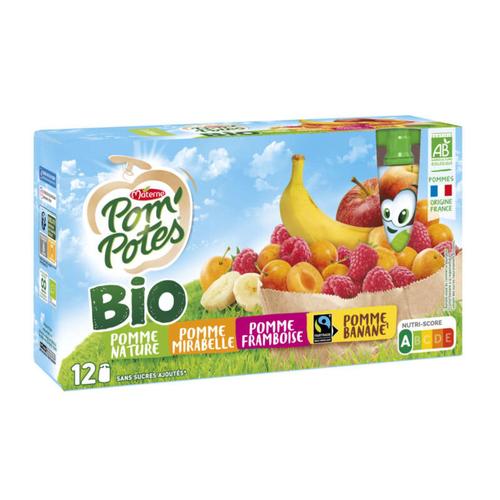 Pom'potes compotes multi fruits bio 12x90g