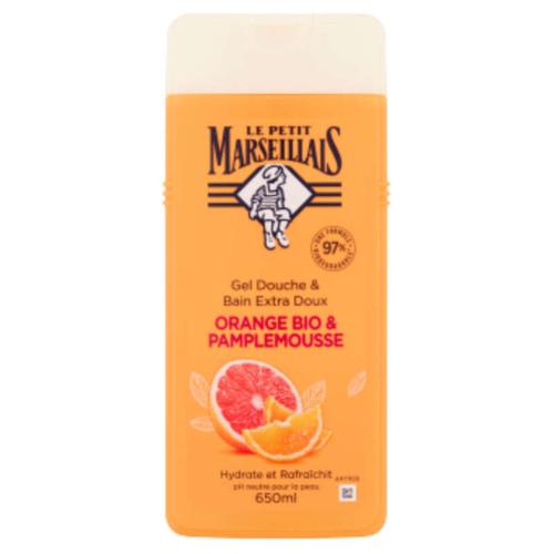 Le Petit Marseillais Gel Douche et Bain Orange & Pamplemousse Bio 650ml.