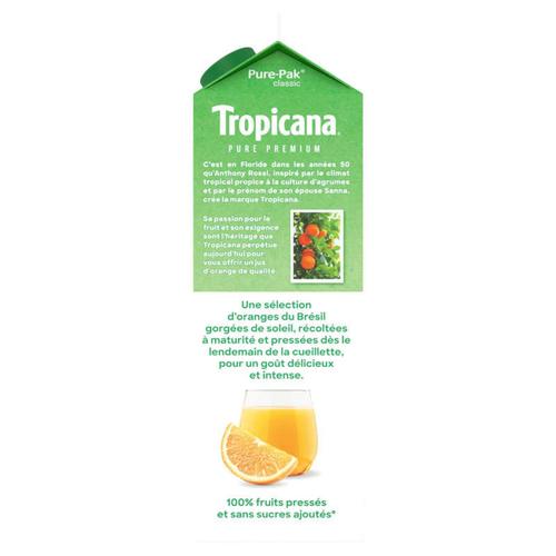 Tropicana  Pur Jus Frais d'Orange avec Pulpe la Brique de 1L