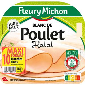Fleury Michon Blanc De Poulet Halal Tranches Fines X10