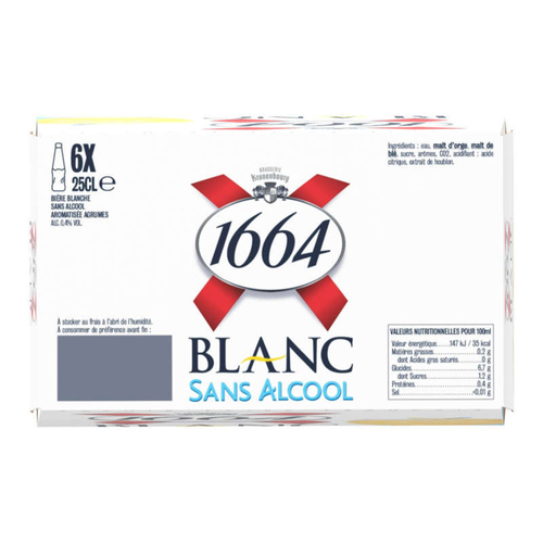 1664 Blanc Bière Blanche Sans Alcool 6 x 25 cl