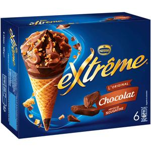 Nestlé Cônes Extrême Chocolat pépites de Nougatine 6x71g