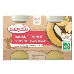 Babybio Petits Pots Banane Pomme d'Aquitaine Dès 4 Mois 2x130g