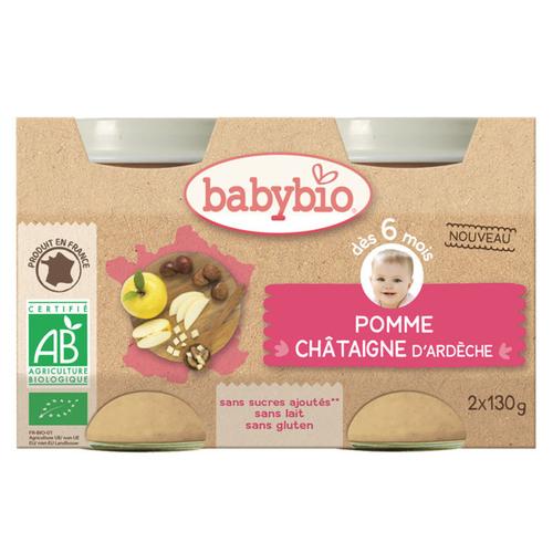 Babybio Dessert Pomme d'Aquitaine Châtaigne d'Ardèche Dès 6 mois 2x130g